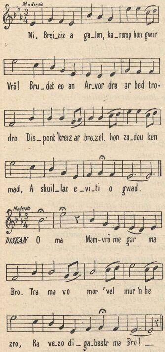 Hymne à la Bretagne. Bro goz ma zadou [chant]. Partition publiée à Saint-Brieuc le 1er mars 1900 dans le journal : La Revue bretonne