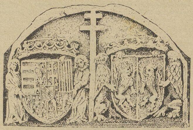 Dessus-de-porte découvert à Longwy en 1884, représentant la croix de Lorraine. Image publiée le 2 juillet 1916 dans le journal : Seille-Bote
