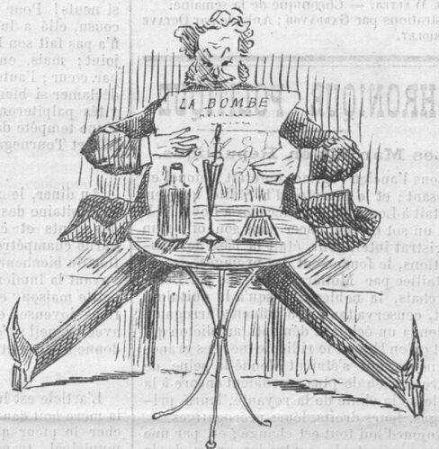 Dans un café, un homme lit un journal avec excitation. Dessin de Gardavot publié à Toulouse le 6 avril 1884 dans le journal : La Bombe