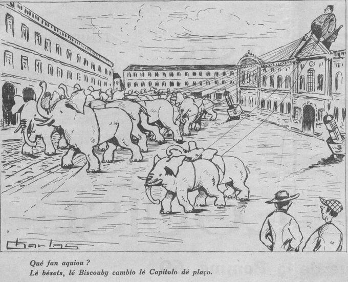 Biscouby déplaçant le Capitole !..., par Charlas. Image publiée à Toulouse le 15 septembre 1925 dans le journal : Le Capitole