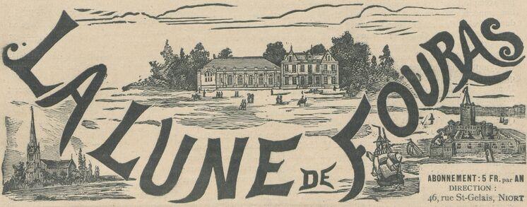 Fouras : l'église Saint-Gaudens, le Casino, le Fort. Manchette du journal : La Lune de Fouras. Image publiée à Niort le 4 août 1895