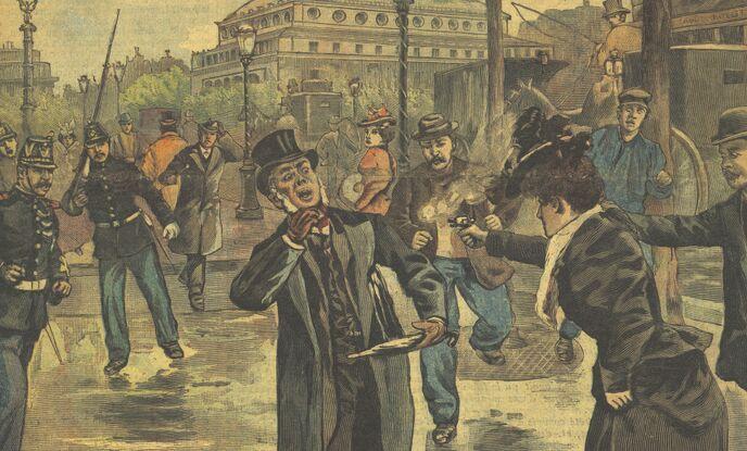Le drame du boulevard du Palais : tentative d'assassinat sur un juge d'instruction. Image publiée à Corquilleroy le 3 décembre 1898 dans le journal : L'Abeille du Gâtinais