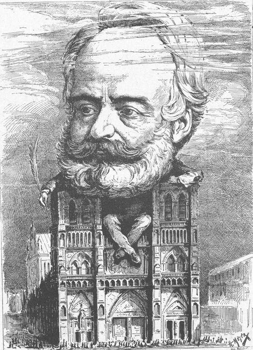 Victor Hugo assis sur la cathédrale Notre-Dame de Paris. Image publiée à Metz en 1903 dans le journal : La Lecture illustrée : supplément de la Gazette de Lorraine