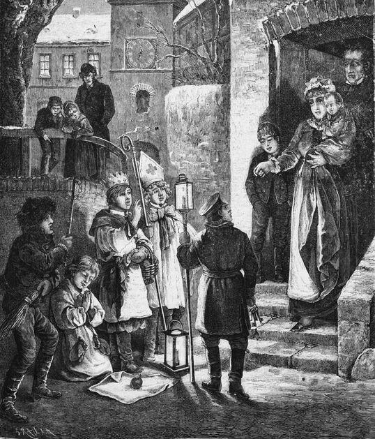 La Saint-Nicolas en Bohême. Image publiée à Metz le 7 janvier 1894 dans le journal : Le Petit Lorrain