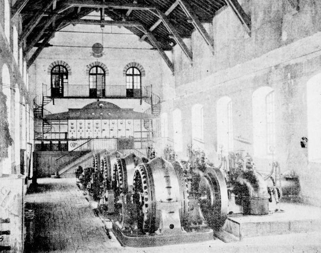 Usine hydroélectrique des Gorges de Saint-Georges. Image publiée à Carcassonne en juin 1905 dans le journal : Bulletin mensuel du Syndicat d'initiative de Carcassonne et de l'Aude