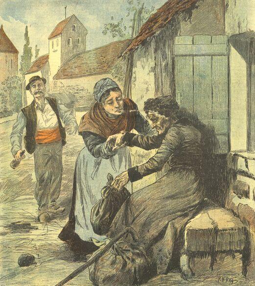 Une centenaire héroïque, tombée de fatigue et de privations sur la route de Paris. Dessin de Ripp publié à Aurillac le 10 juin 1900 dans le journal: L'Avenir du Cantal. Supplément illustré du dimanche