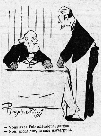Au restaurant (bougnat). Image publiée à Aurillac le 12 mai 1901 dans le journal: L'Avenir du Cantal illustré