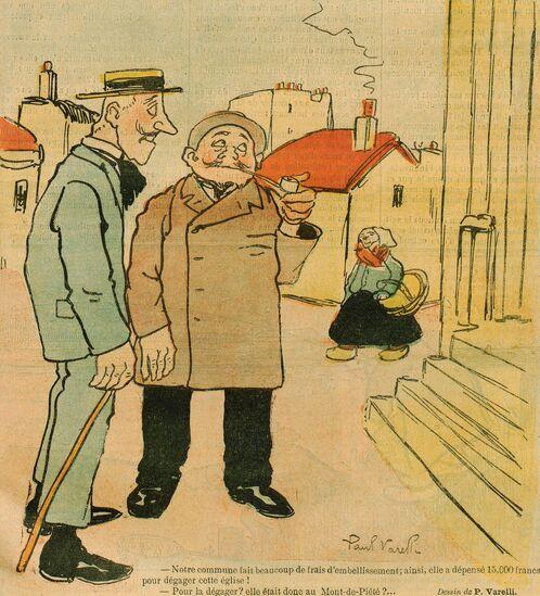 Deux hommes regardent une église. Dessin de Paul Varelli, publié à Aurillac le 9 juin 1901 dans le journal: L'Avenir du Cantal illustré