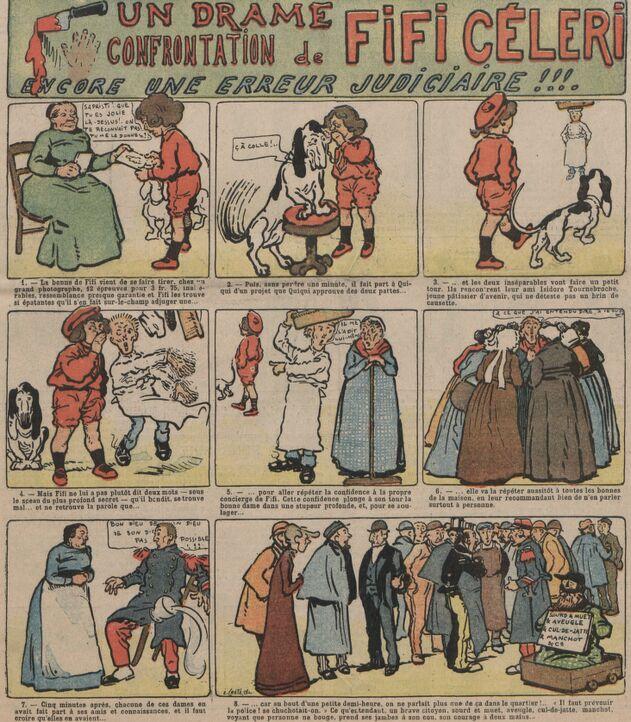 Un drame. Confrontation de Fifi Céleri. Encore une erreur judiciaire ! Bande dessinée de O' Galop publiée à Mortagne-au-Perche le 26 février 1905 dans le journal : Le Perche illustré : supplément au Perche