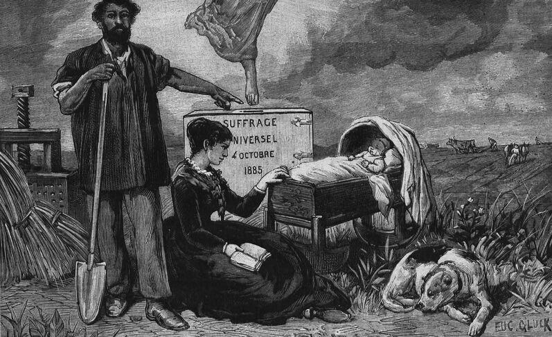 Paix, travail, liberté. Suffrage universel, 4 octobre 1885. Gravure d'Eugène Glück. Image publiée à Pithiviers le 27 septembre 1885 dans le journal : Pithiviers illustré