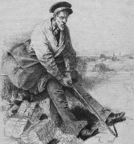 Le facteur rural pendant la période électorale. Image publiée à Pithiviers le 27 septembre 1885 dans le journal : Pithiviers illustré