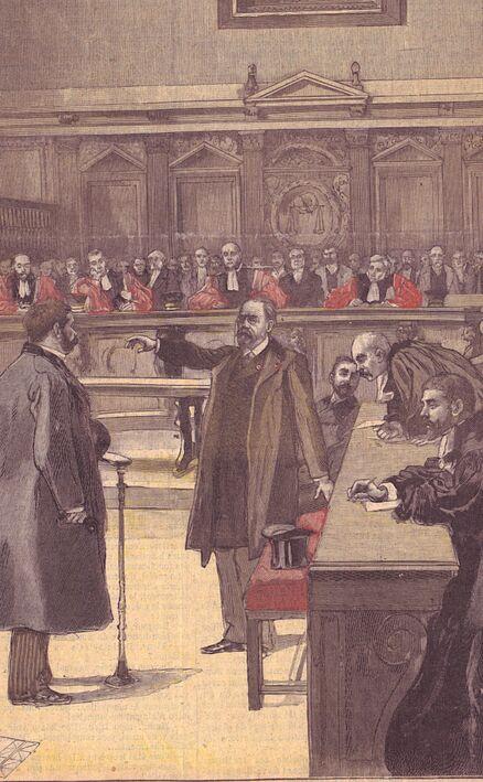 Émile Zola à la cour d'assises [affaire Dreyfus]. Image publiée à Toulouse le 13 février 1898 dans le journal : La Dépêche. Supplément illustré