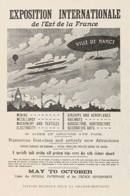 Affiche bilingue dans le Rapport général sur l'Exposition internationale de l'Est de la France Nancy-1909. p. 782, source Gallica