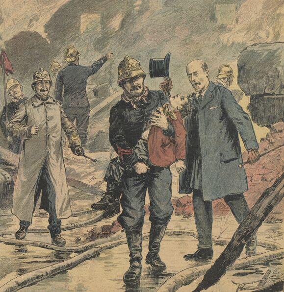 Un sauveteur de onze ans. Le jeune Dorvillet blessé dans l'incendie de Saint-Ouen. Image publiée à Saint-Brieuc le 18 mars 1900 dans le journal : Supplément illustré du Moniteur des Côtes-du-Nord