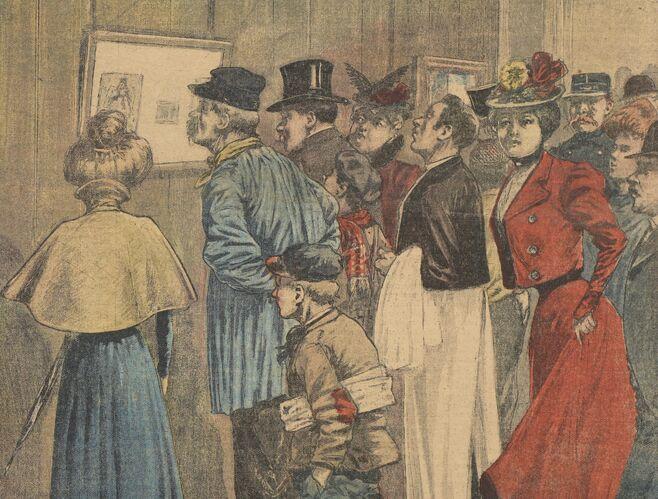 Un homme coupé en morceaux. La foule défilant, à la Morgue, devant les photographies du cadavre. Image publiée à Saint-Brieuc le 23 décembre 1900 dans le journal : Supplément illustré du Moniteur des Côtes-du-Nord
