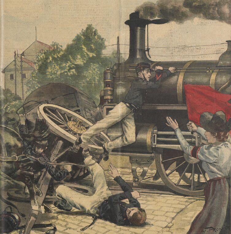 Accident de chemin de fer à Besançon : une prolonge d'artillerie tamponnée par un express. Image publiée à Montbéliard le 16 juillet 1899 dans le journal : Le Pays de Montbéliard. Supplément illustré du dimanche