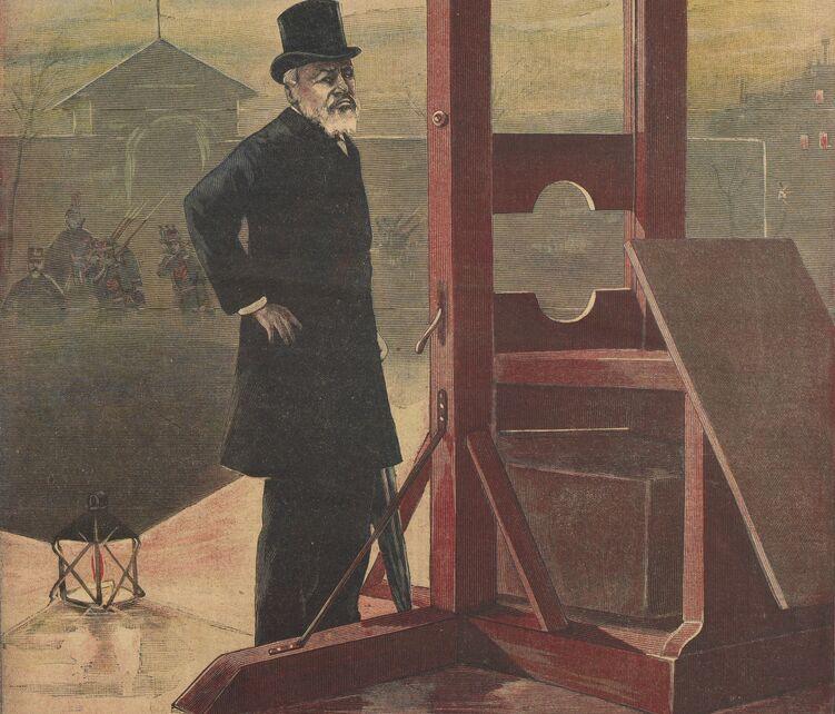 Retraite de M. Deibler, le bourreau de France. Image publiée à Château-Gontier le 22 janvier 1899 dans le journal : Le Progrès illustré