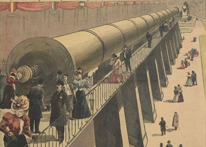 Une des merveilles de l'Exposition de 1900 : la lunette monstre qui mettra la Lune à quelques lieues de la Terre. Image publiée à Château-Gontier le 19 février 1899 dans le journal : Le Progrès illustré