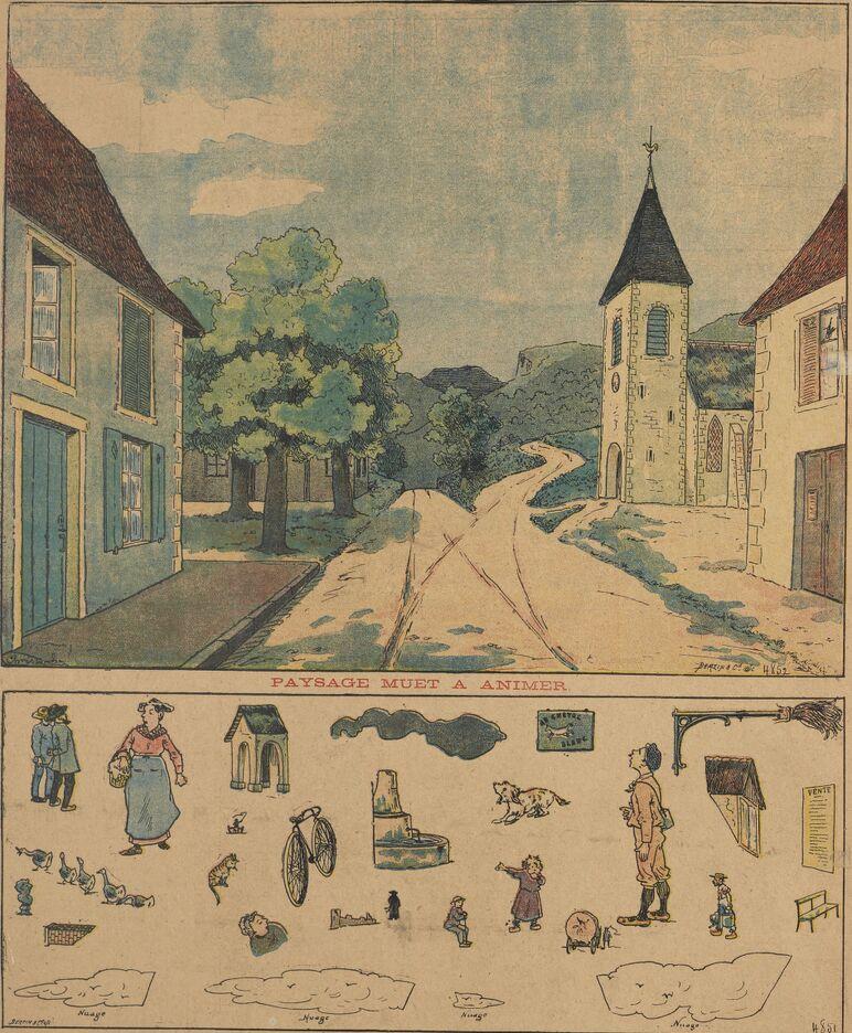Grand concours du paysage muet à animer. Personnages et objets à placer dans le paysage muet. Image publiée à Château-Gontier le 24 mars 1901 dans le journal : Le Progrès illustré