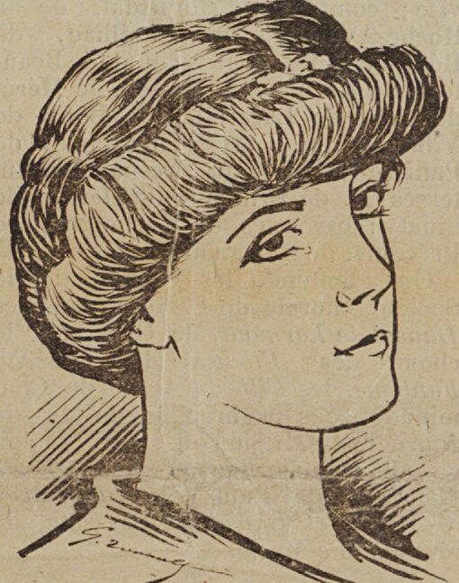 Celles de chez nous. Mme Lucie Delarue-Mardrus. Image publiée à Paris le 1er juillet 1907 dans le journal : Les Gars normands de Paris, de la Duché & de partout