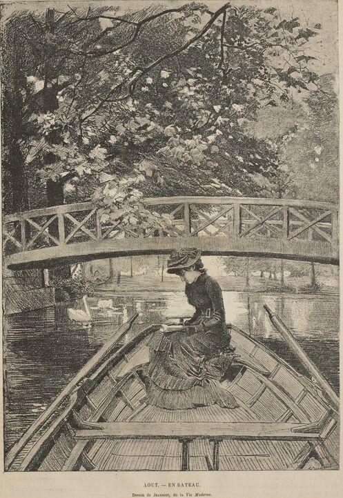 Août - En bateau. Dessin de Georges Jeanniot, de La Vie moderne, publié en 1881 dans le journal : L'Avenir de l'Orne. Supplément illustré