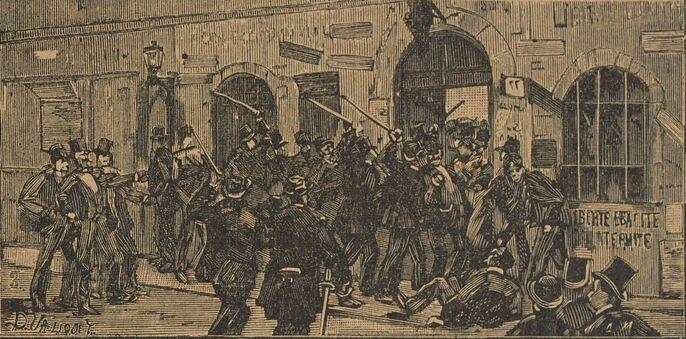La sortie du meeting de Tivoli Vaux-Hall. Image publiée à Laval le 17 mai 1891 dans le journal : L'Avenir de la Mayenne illustré