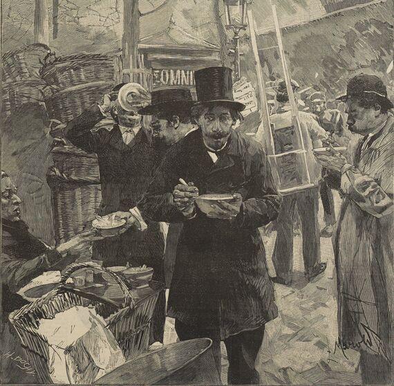 Paris pittoresque. La soupe, le matin, aux Halles. Dessin de Luděk Marold publié à Boulogne-sur-Mer le 28 février 1892 dans le journal : L'Indépendant de Boulogne-sur-Mer. Supplément illustré