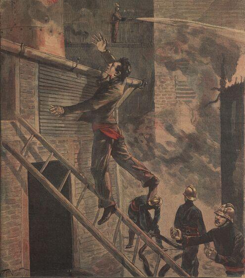 Incendie d'une usine à Saint-Denis. Un sauveteur victime de son dévouement. Image publiée à Saint-Claude le 21 octobre 1899 dans le journal : L'Indépendant de St-Claude. Supplément littéraire illustré