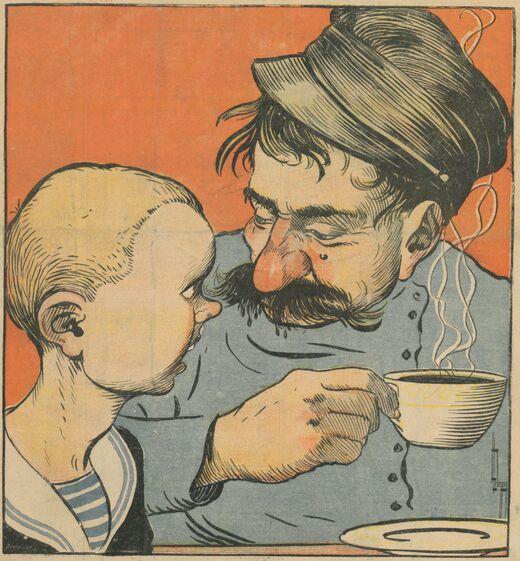Les enfants gourmands. P'pa, j'ai pas eu de café... Laisse-moi goûter tes moustaches ? Image publiée à Dinan le 24 juin 1900 dans le journal : L'Indépendant dinannais. Supplément illustré