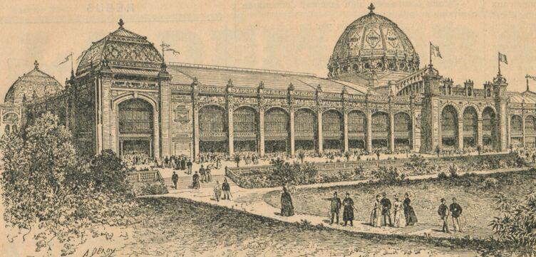Exposition universelle de 1889. Le Palais des arts libéraux. Image publiée à Charolles le 13 mai 1889 dans le journal : La Démocratie charollaise. Supplément illustré