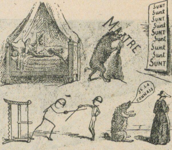 Rébus. Image publiée à Charolles le 24 juin 1889 dans le journal : La Démocratie charollaise. Supplément illustré