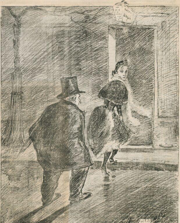 L'influenza par Léonce Burret. L'influencé. Image publiée à Bordeaux le 28 décembre 1889 dans le journal : Le Rire