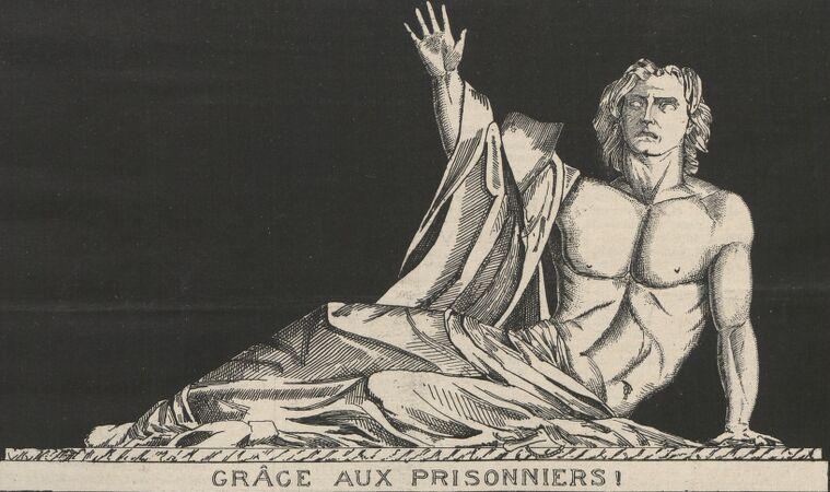 Grâce aux prisonniers ! Mort de Bonchamps. Moulage de la statue de Bonchamps par David d'Angers (existant au Musée de Cholet). Image publiée à Cholet le 7 février 1886 dans le journal : Le Choletais illustré