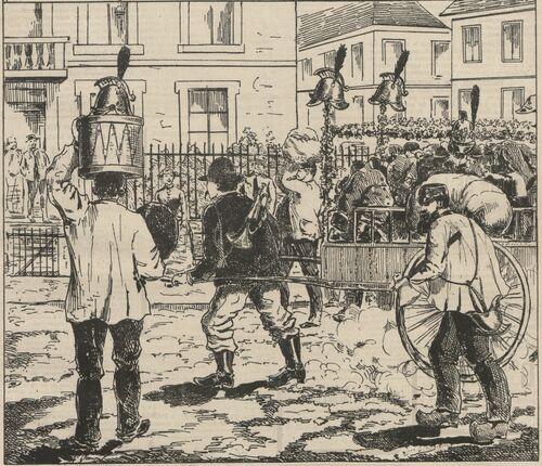Désarmement des pompiers de Cholet. Image publiée à Cholet le 19 septembre 1886 dans le journal : Le Choletais illustré