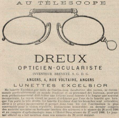 Dreux opticien-oculariste inventeur, Angers, 4 rue Voltaire. Lunettes Excelsior. Image publiée à Cholet le 23 janvier 1887 dans le journal : Le Choletais illustré