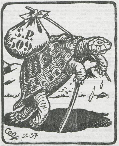 La tortue de l'Armée d'Orient [portant le courrier du secteur postal 509]. Image publiée à Charleville en mars 1937 dans le journal : Bulletin trimestriel - Association ardennaise Les Poilus d'Orient
