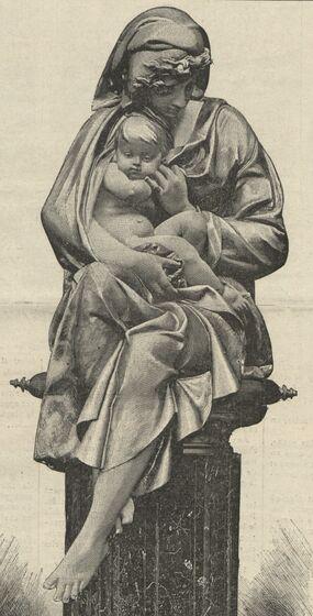 L'Hiver. Groupe de Carrier-Belleuse. Reproduction en bronze de M. Pinédo. Image publiée à Paris le 8 mars 1891 dans : Le Journal de Cholet. Supplément illustré
