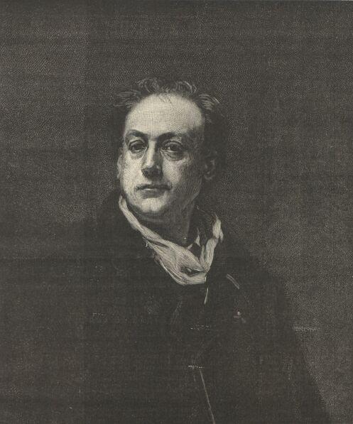Théodore de Banville [d'après le portrait peint en 1868 par Alfred Dehodencq, Château de Versailles]. Image publiée à Paris le 29 mars 1891 dans : Le Journal de Cholet. Supplément illustré