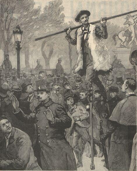 Le départ de Dornon, se rendant de Paris à Moscou sur des échasses. Image publiée à Paris le 29 mars 1891 dans : Le Journal de Cholet. Supplément illustré