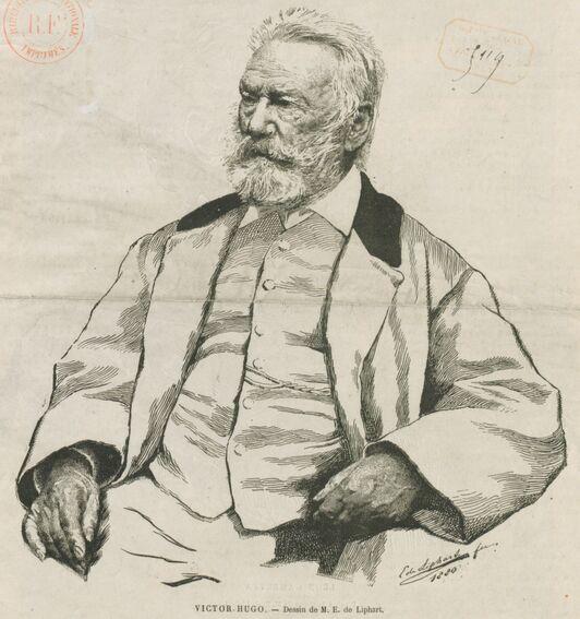 Victor Hugo. Dessin d'E. de Liphart. Image publiée à Paris en 1881 dans le journal : La République du Jura. Supplément illustré