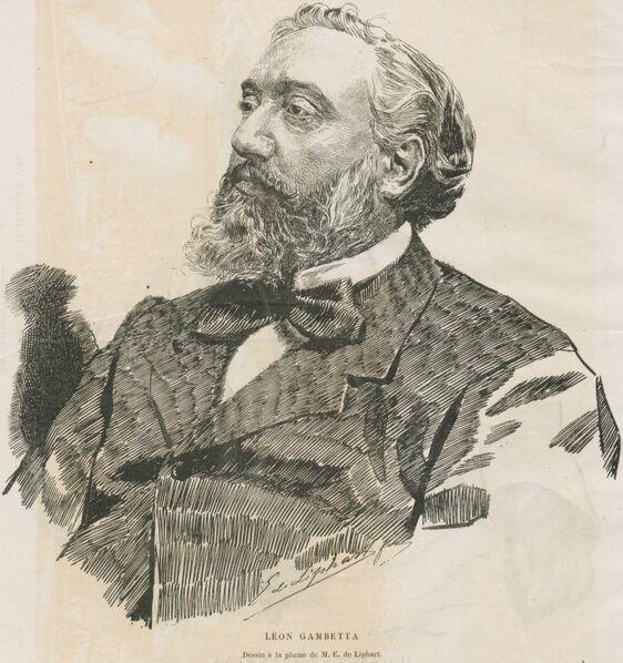 Léon Gambetta. Dessin à la plume d'E. de Liphart. Image publiée à Paris en 1881 dans le journal : La République du Jura. Supplément illustré