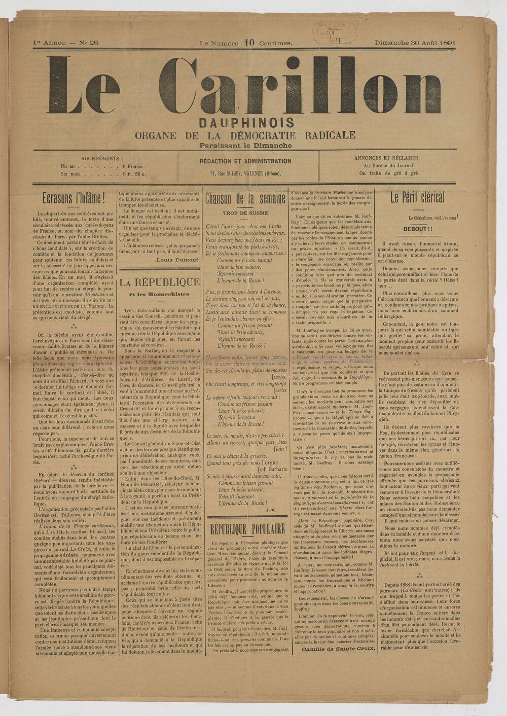 Le Carillon dauphinois : journal républicain illustré : paraissant tous les samedis / rédacteur en chef Louis Dumont