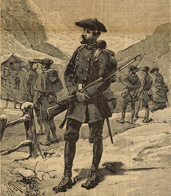 Les chasseurs alpins français à la frontière. Image publiée à Aix-les-Bains le 6/9 juillet 1889 dans le journal : Le Cosmopolite