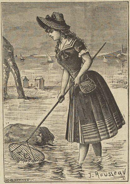 Pêcheuse à pied devant la Porte d'Aval à Étretat. Image publiée à Granville le 9/16 juin 1887 dans le journal : Gazette de la plage normande