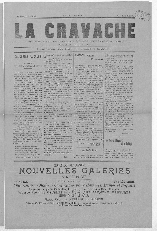 La Cravache valentinoise : journal politique, littéraire, humouristique, fantaisiste, agricole, commercial et mondain / directeur-propriétaire Louis Esprit