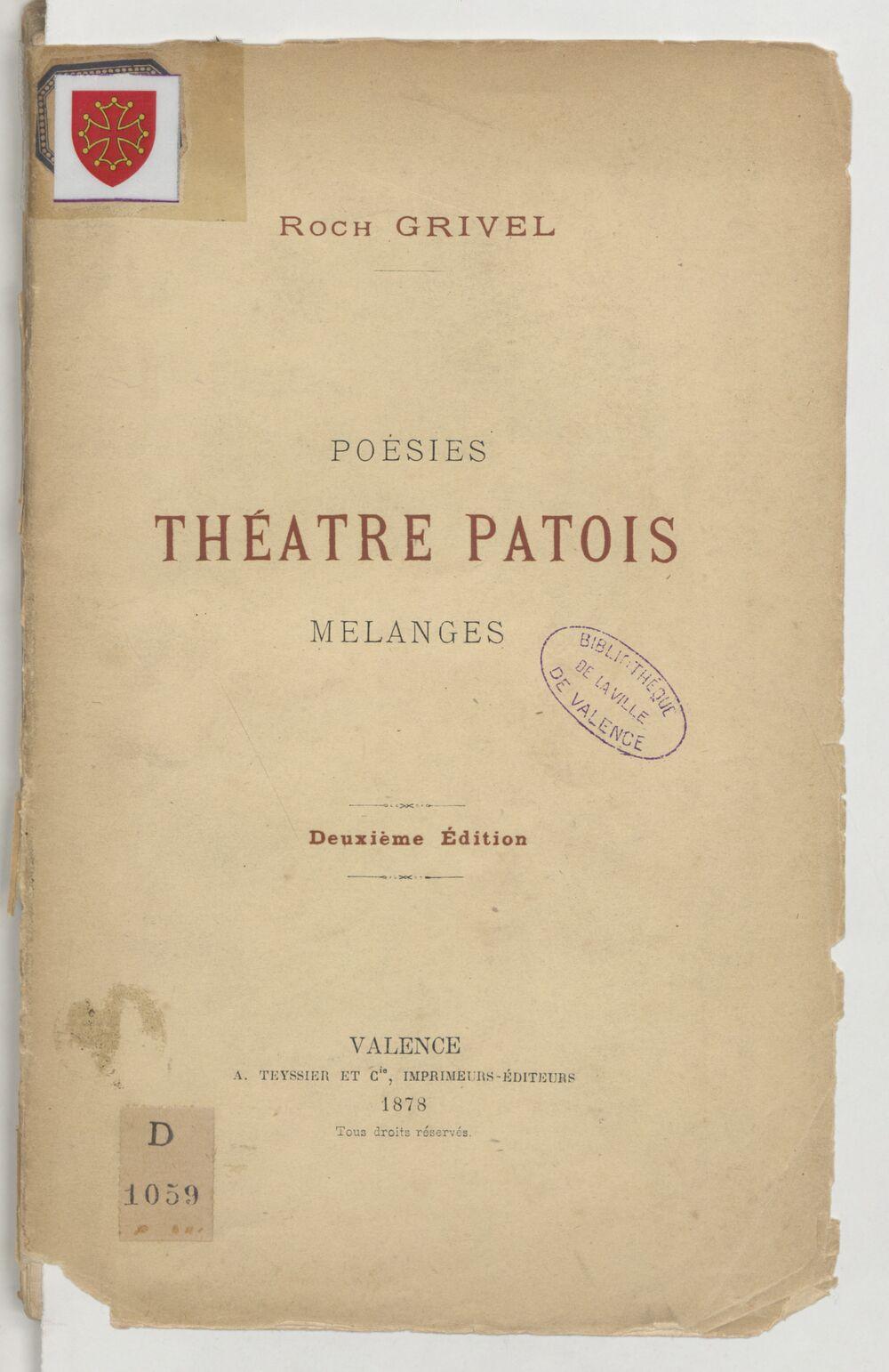 Poésies. Théâtre patois. Mélanges. 2e édition / Roch Grivel