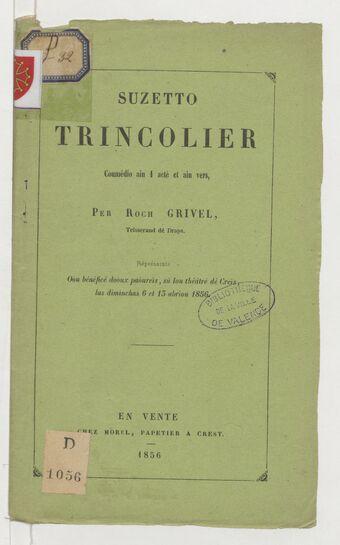 Suzetto Trincolier : coumédio ain 1 acté et ain vers / per Roch Grivel,...