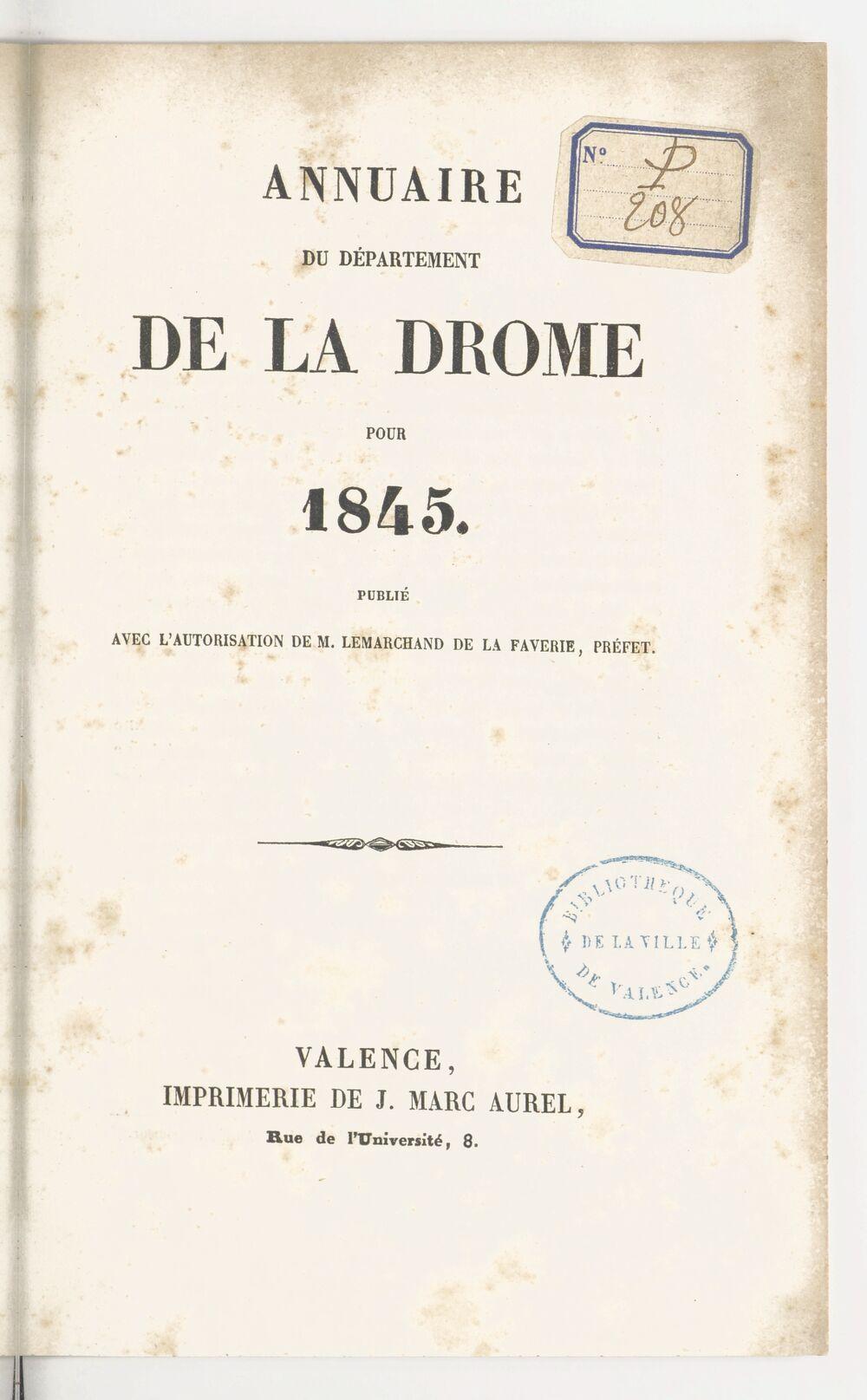 Annuaire du département de la Drome pour l'an... / par Mr. Gueymar-Dupalais...