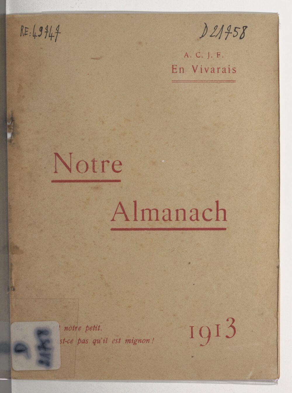 Almanach de la jeunesse catholique du Vivarais
