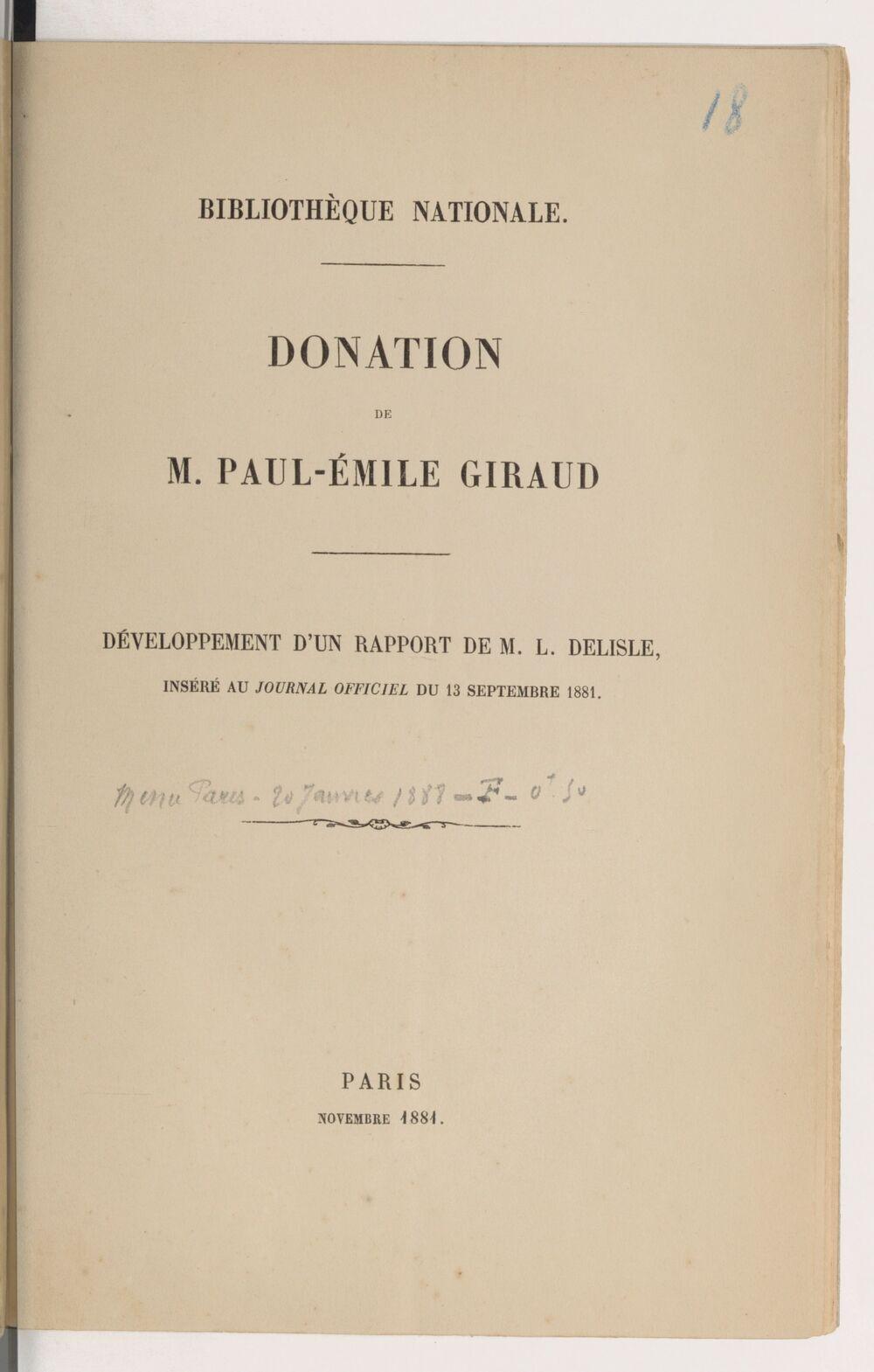 Donation de M. Paul-Émile Giraud, développement d'un rapport de M. L. Delisle inséré au
